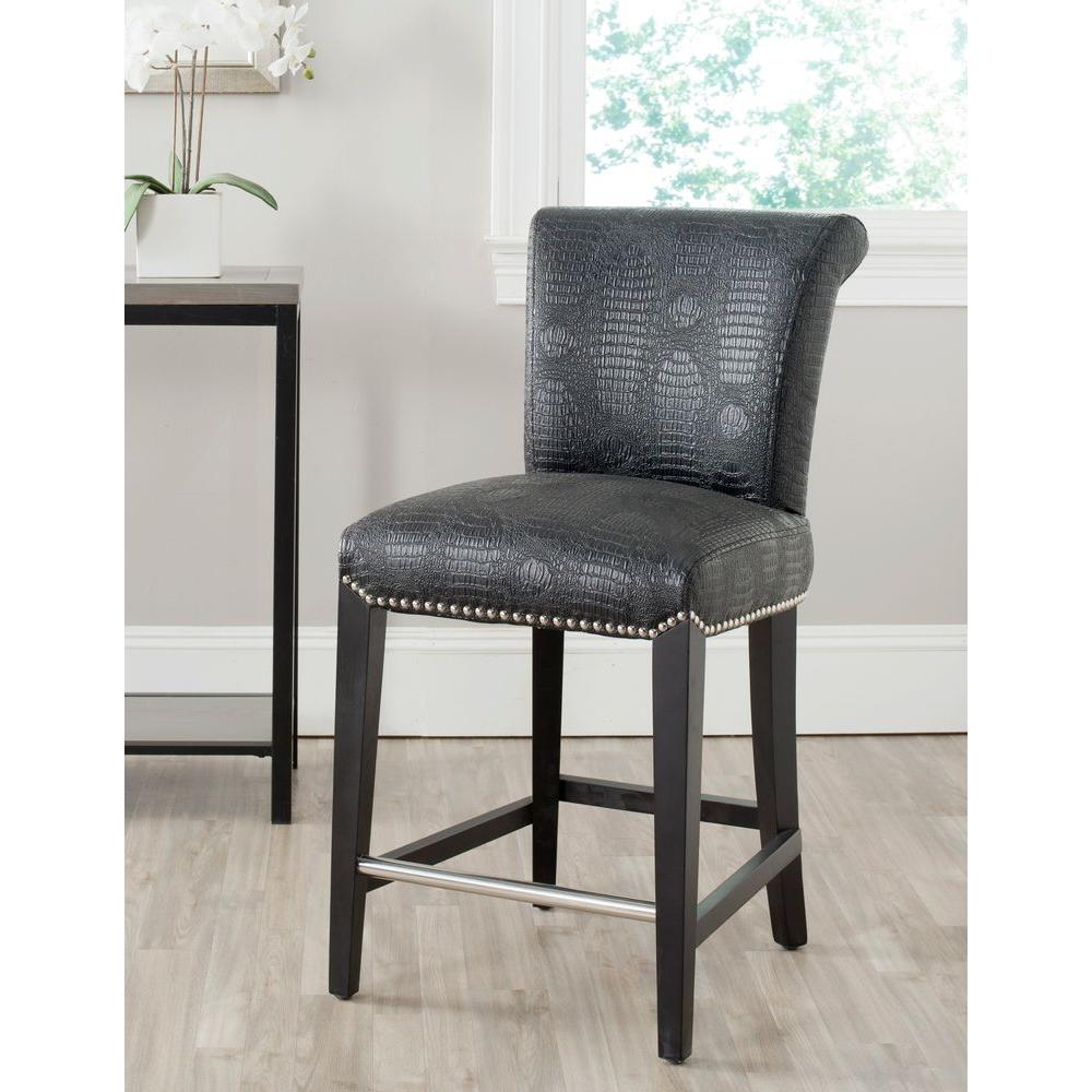 Safavieh Seth 25.9 In. Black Croc Cushioned Bar Stool