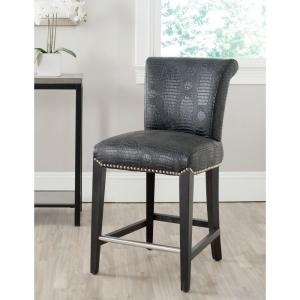 Seth 25.9 in. Black Croc Cushioned Bar Stool