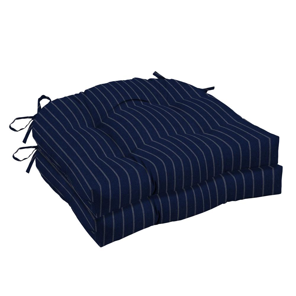 Navy Woven Stripe Outdoor Tufted Seat Cushion (2-Pack)