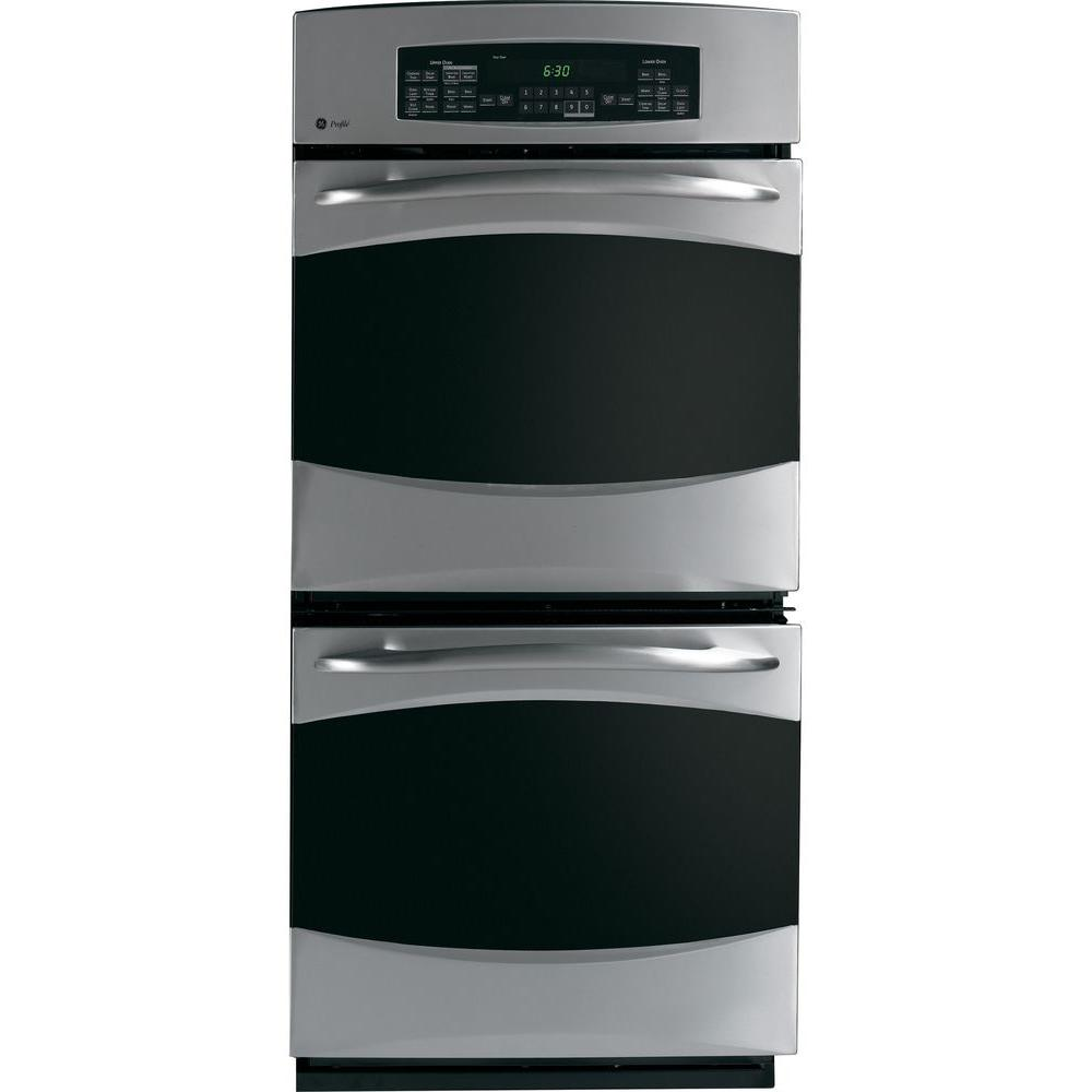 GE Profile 27 in. Double Electric Wall Oven with Self Cleaning and Convection in Stainless Steel