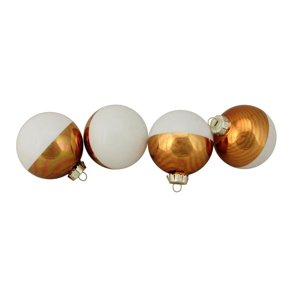Northlight 3 25 In 80 Mm Shiny White And Gold Color Block Christmas Glass Ball Ornaments 4 Count