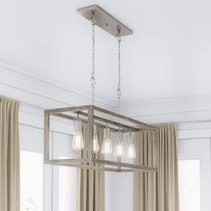 Boswell Quarter 5-Light Brushed Nickel Island Dining Room Chandelier with Weathered Wood Accents