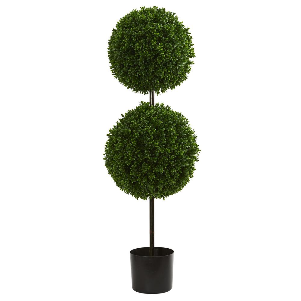 3.5 in. UV Resistant Indoor/Outdoor Boxwood Double Ball Artificial Topiary Tree