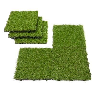 Ottomanson Evergreen 12 in. x 12 in. Green Artificial Turf Interlocking Grass Tiles (6-Pack)