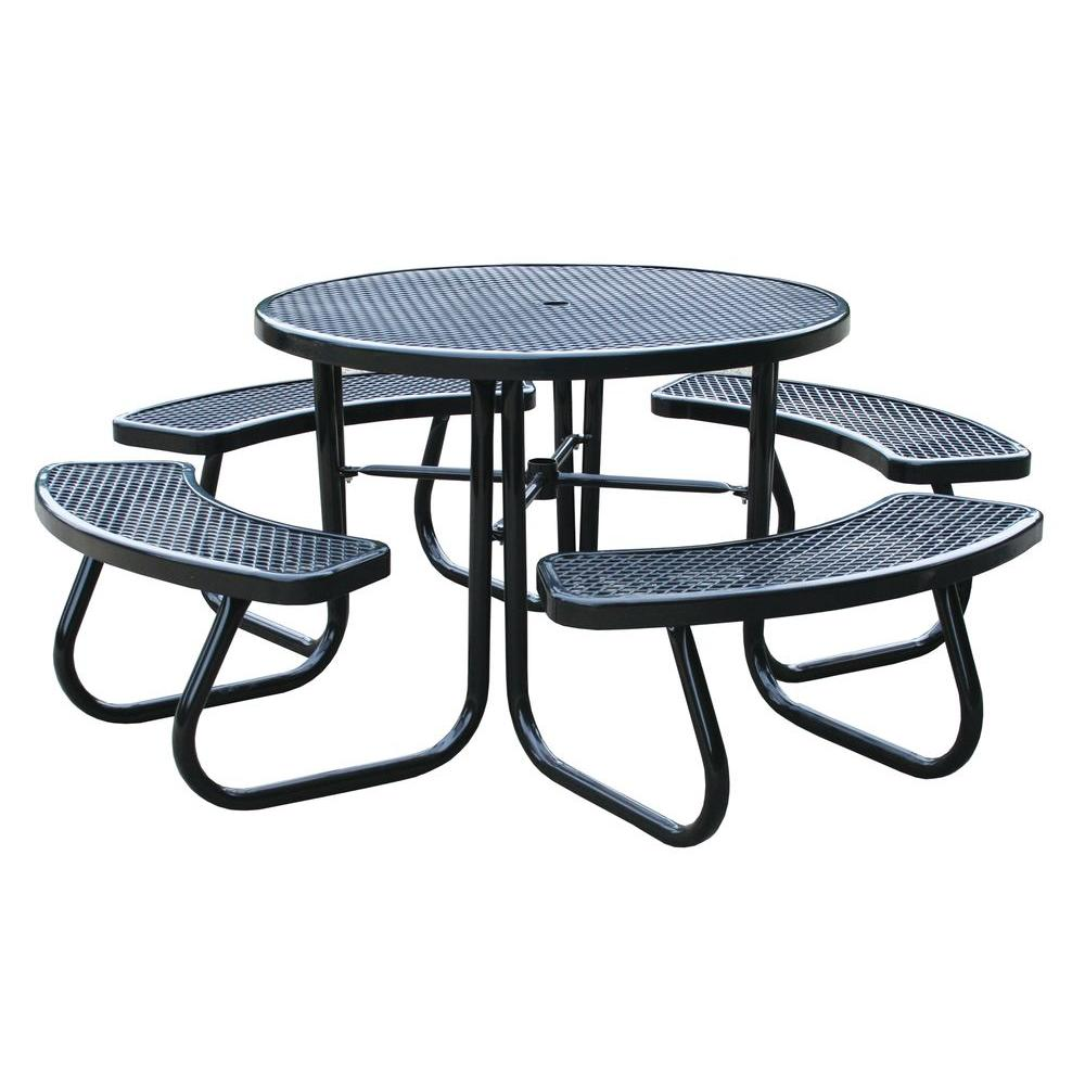 46 in. Black Picnic Table with Built-In Umbrella Support