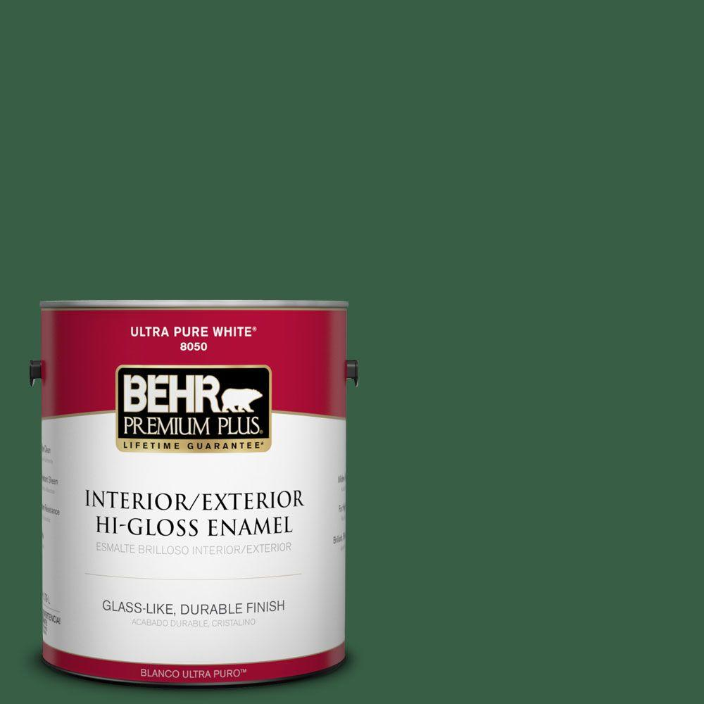 BEHR Premium Plus 1-gal. #470D-7 Windy Pine Hi-Gloss Enamel Interior/Exterior Paint