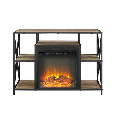 40 in. Rustic Oak X-Frame Open Shelf Fireplace