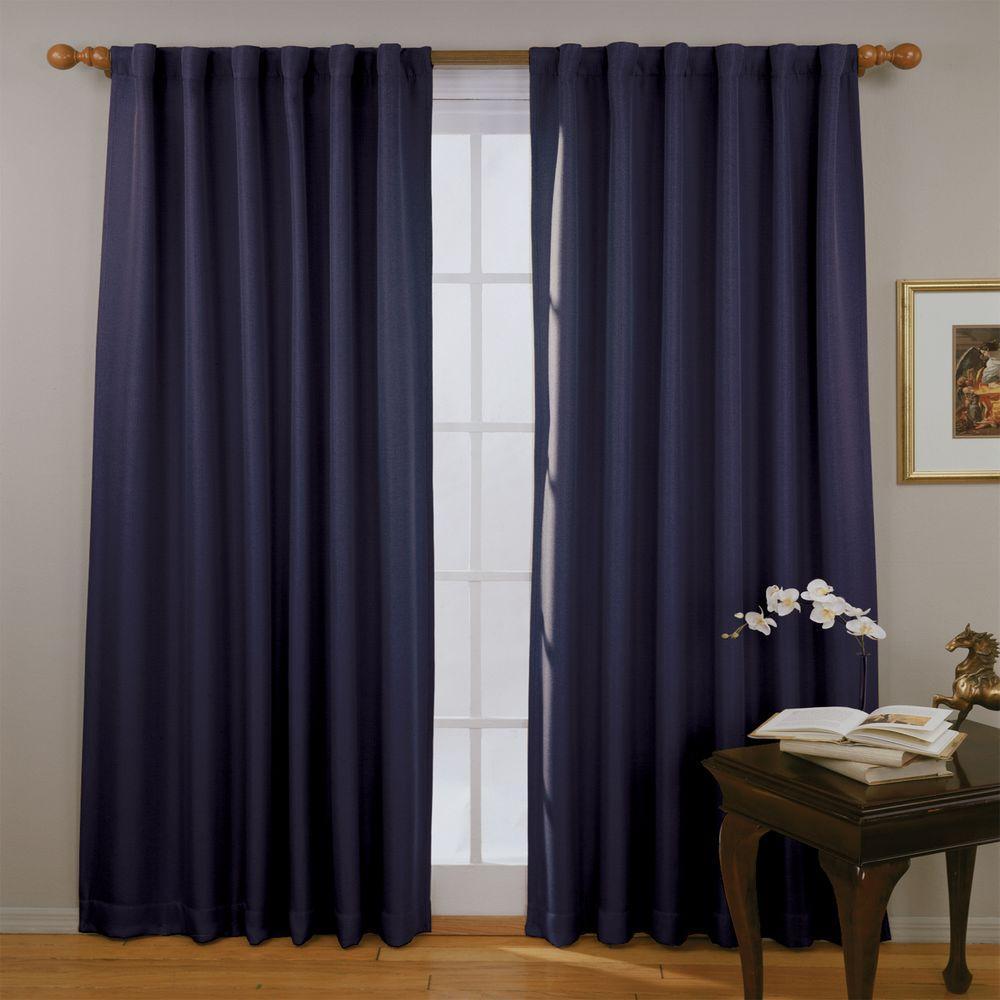 Eclipse Fresno Blackout Dark Blue Curtain Panel, 84 in. Length