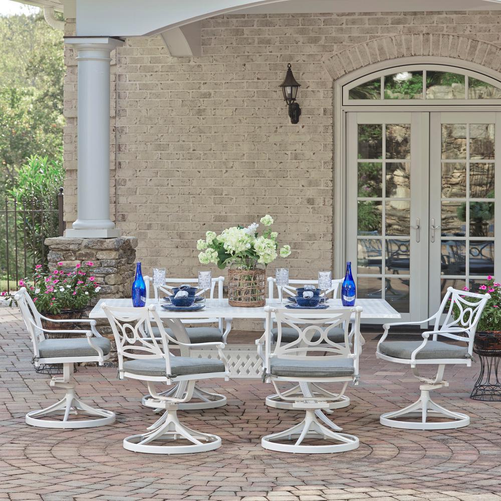 La Jolla White 7-Piece Aluminum Rectangular Outdoor Dining Set with Gray Cushions