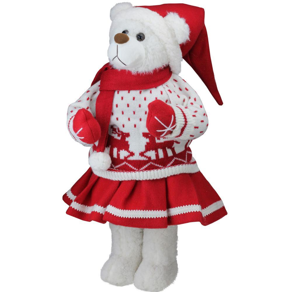 20 in. Retro Christmas Girl Santa Bear in Deer Sweater Christmas Figure Decoration