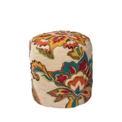 Grand Floral Ivory and Teal Accent Pouf