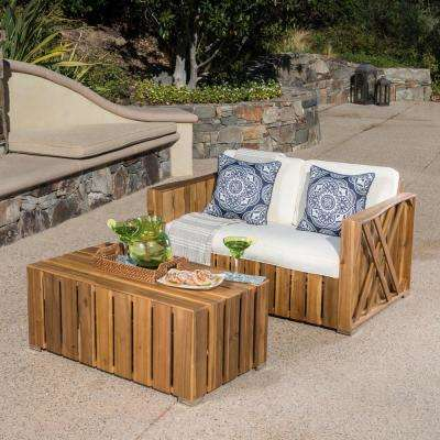 Lyla Natural Stained 2-Piece Wood Patio Conversation Set with Cream Cushions