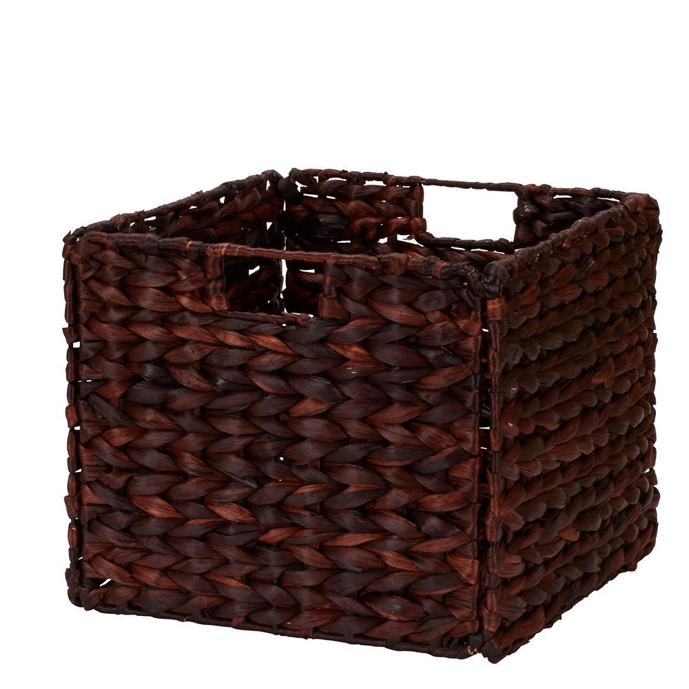 Household Essentials 13 in. x 11 in. x 13 in. Dark Brown Water Hyacinth Wicker Collapsible Storage Bin