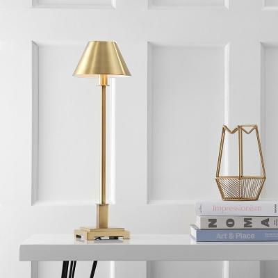 Roxy 26 in. Brushed Brass Metal Shade Table Lamp