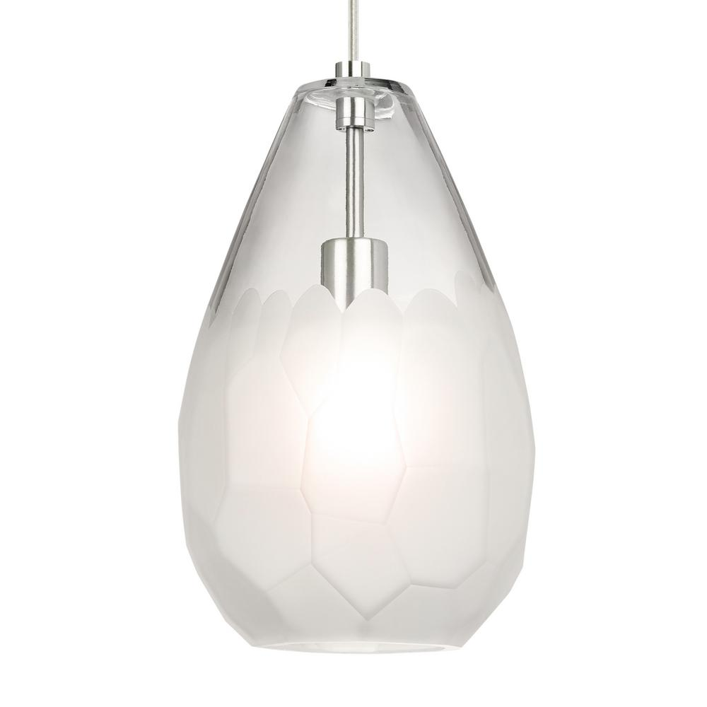 LBL Lighting Briolette Grande 9.5-Watt Satin Nickel Integrated LED Pendant The transparent glass of the Briolette Grande pendant light from LBL Lighting is formed into an unexpectedly large teardrop shape. It is then hand finished with unique semi-opaque facets. This creates visual interest and subtly obscures the light source.