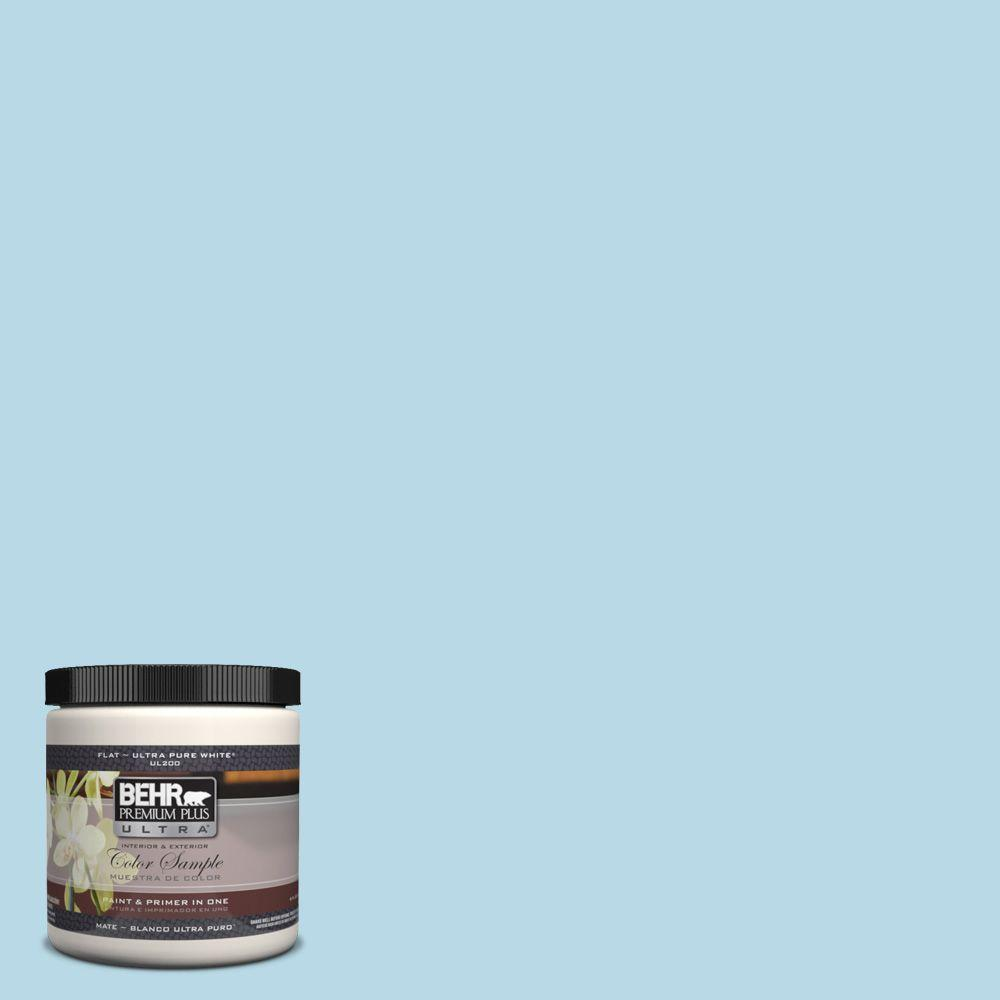 BEHR Premium Plus Ultra 8 oz. #M490-1 Breezy Blue Interior/Exterior Paint Sample