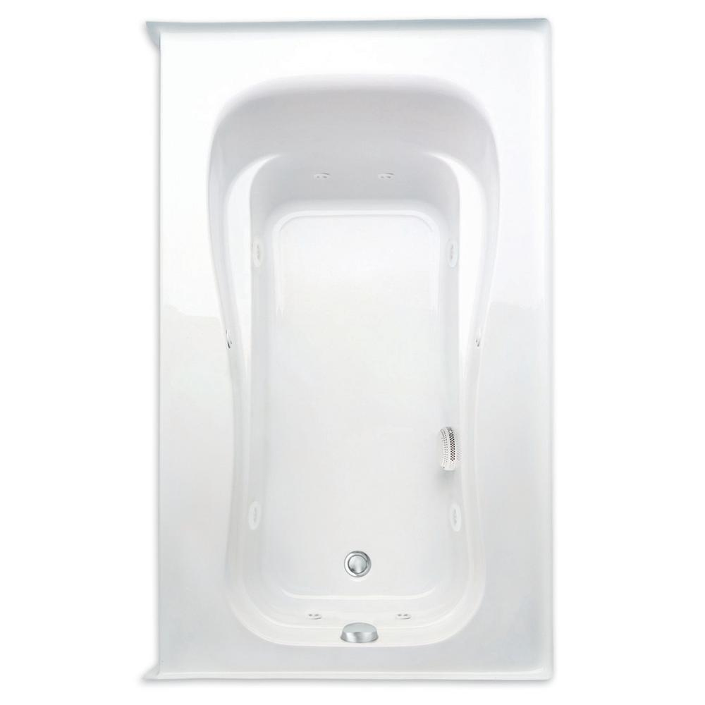 Aquatic Novelli 60 in. Acrylic Right Drain Rectangular Alcove Whirlpool Bathtub with Heater in White