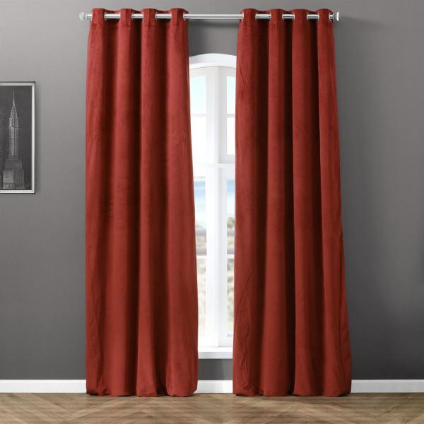 Blackout Signature Java 50 in. W x 120 in. L Velvet Grommet Blackout Curtain in Brown (1 Panel)