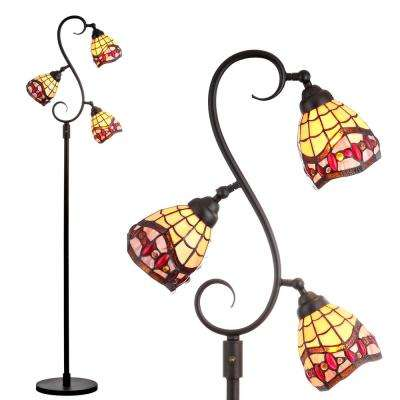 Walker Tiffany-Style 70.5 in. Multi-Light Bronze Floor Lamp