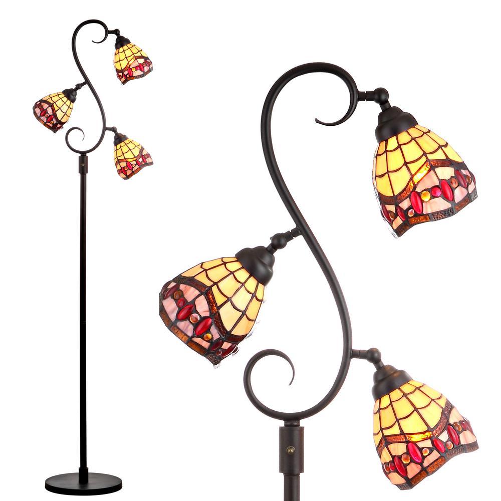 Walker Tiffany-Style 70.5 in. Multi-Light Bronze Floor Lamp