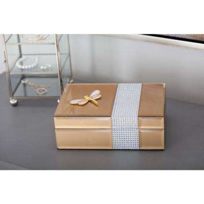 Jewelry Box with Dragonfly Sculpture in Gold