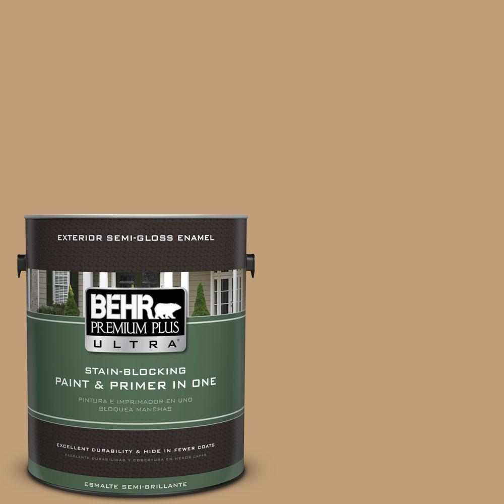 BEHR Premium Plus Ultra 1-gal. #300F-4 Almond Toast Semi-Gloss Enamel Exterior Paint