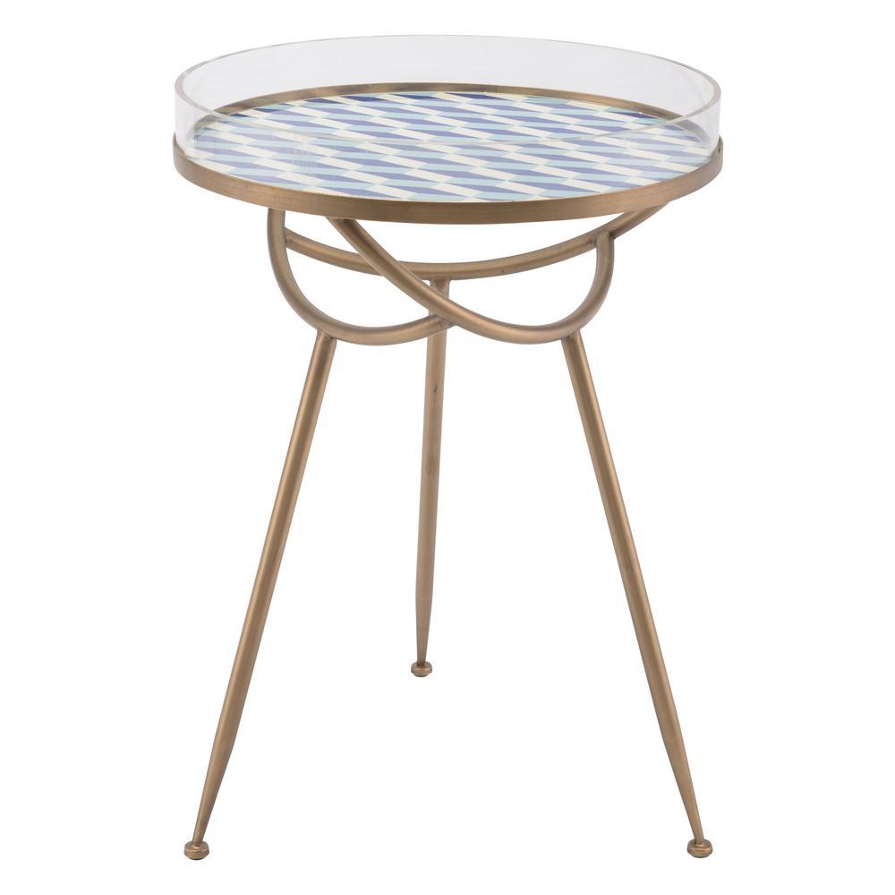 Lattice Blue Round Table