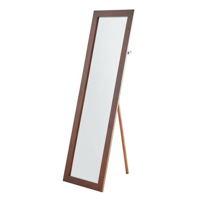 Oversized Natural Wood Mid-Century Modern Mirror (62 in. H X 0.5 in. W)