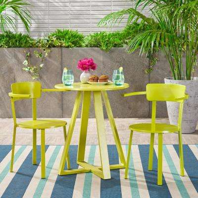 Haiti Matte Lime Green 3-Piece Metal Outdoor Bistro Set