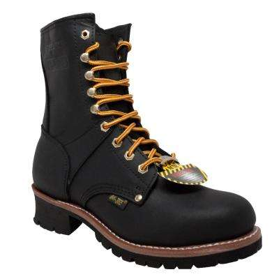 Men's Wide 8 Black Crazy Horse Leather Logger Boot