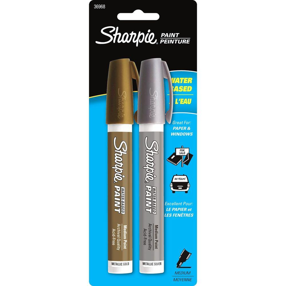 Metallic Gold and Silver Medium Point Water-Based Poster Paint Marker (2-Pack)