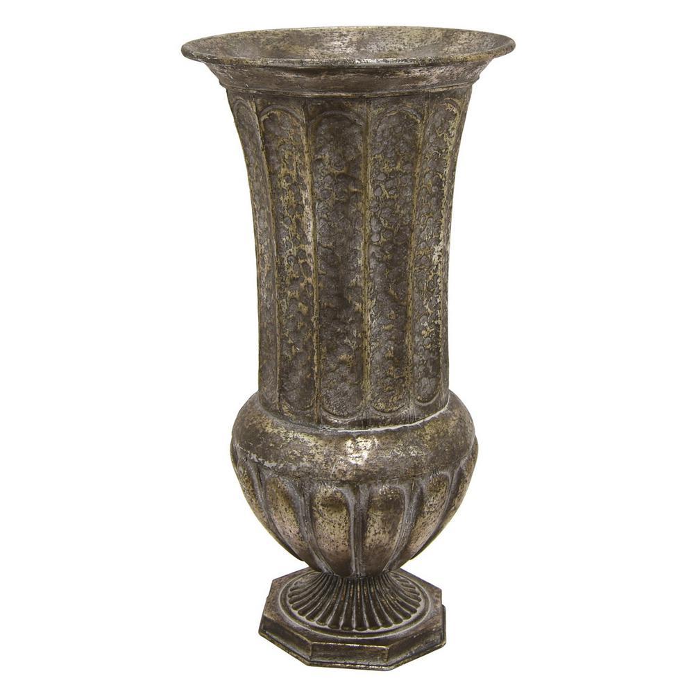 18 in. Distress Silver Metal Decorative Vase