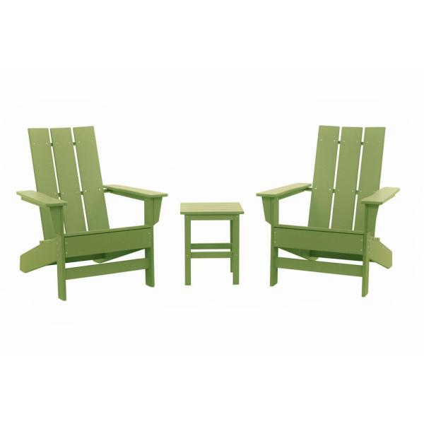 Aria Lime Recycled Plastic Modern Adirondack Chair with Side Table (2-Pack)