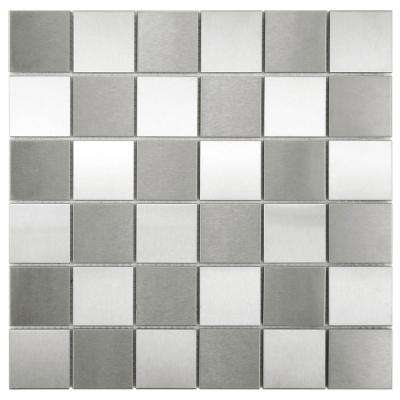 Alloy Quad Checkerboard 12 in. x 12 in. x 8 mm Stainless Steel Over Porcelain Mosaic Tile
