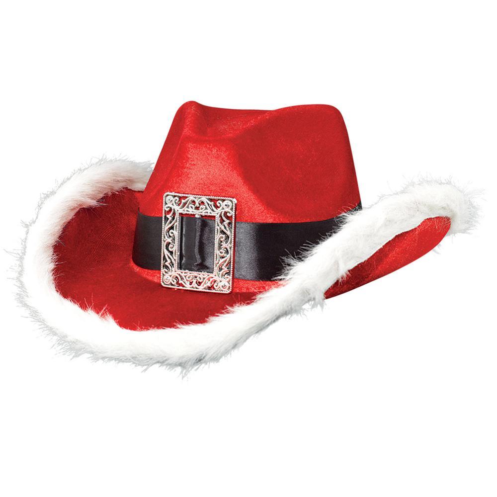 5 in. x 13 in. Santa Cowboy Christmas Hat