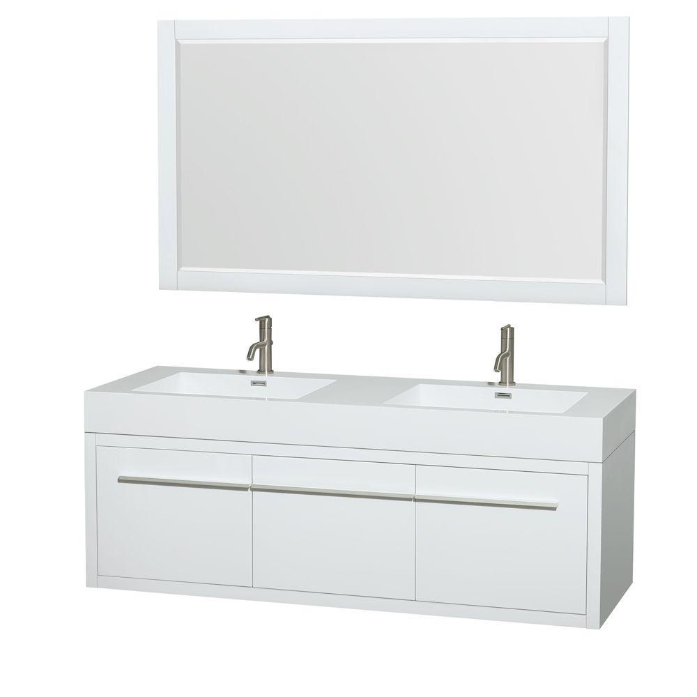 Double Vanity Acrylic Resin Vanity Top White Sink 1303