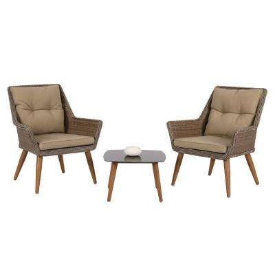 3-Piece Wicker Patio Conversation Set with Coffee Cushion