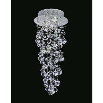 Double Spiral 2-Light Chrome Flushmount