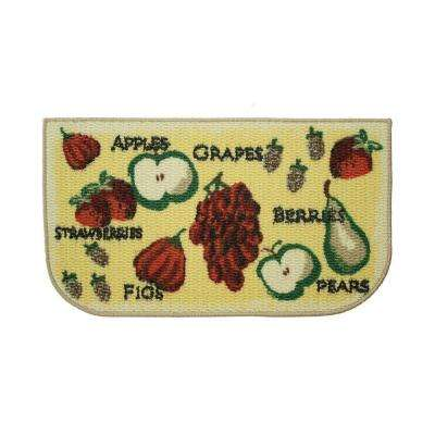 Tossed Fruits 18 in. x 30 in. Textured Wedge-Shaped Slice Kitchen Rug