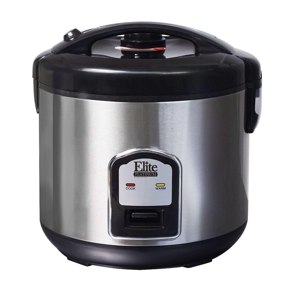 Platinum 20-Cup Rice Cooker, Stainless Cook perfect, fluffy rice every time with the Elite Platinum 10-Cup Rice Cooker. Make 4-20 cups of cooked rice. No more waiting for water to boil or watching the pot on the stovetop, this unit automatically cooks rice and switches to Keep Warm when cooking is complete, keeping food hot and fresh before serving. It includes an Easy-to-clean removable pot. Cooks delicious fluffy rice, stews and steamed vegetables. Color: Stainless.
