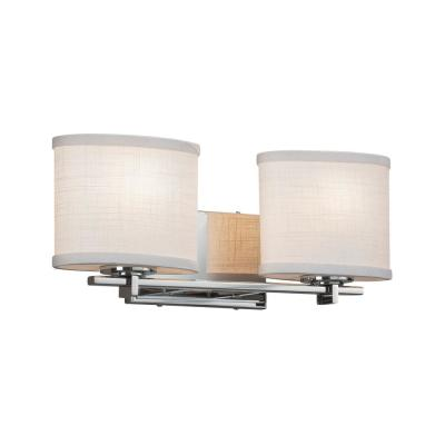 Textile Era 2-Light Polished Chrome Bath Light with White Shade