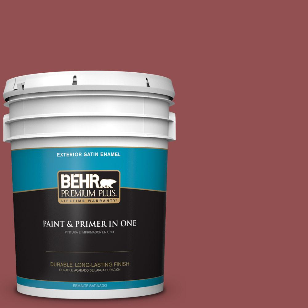 5 gal. #PPU1-08 Pompeian Red Satin Enamel Exterior Paint