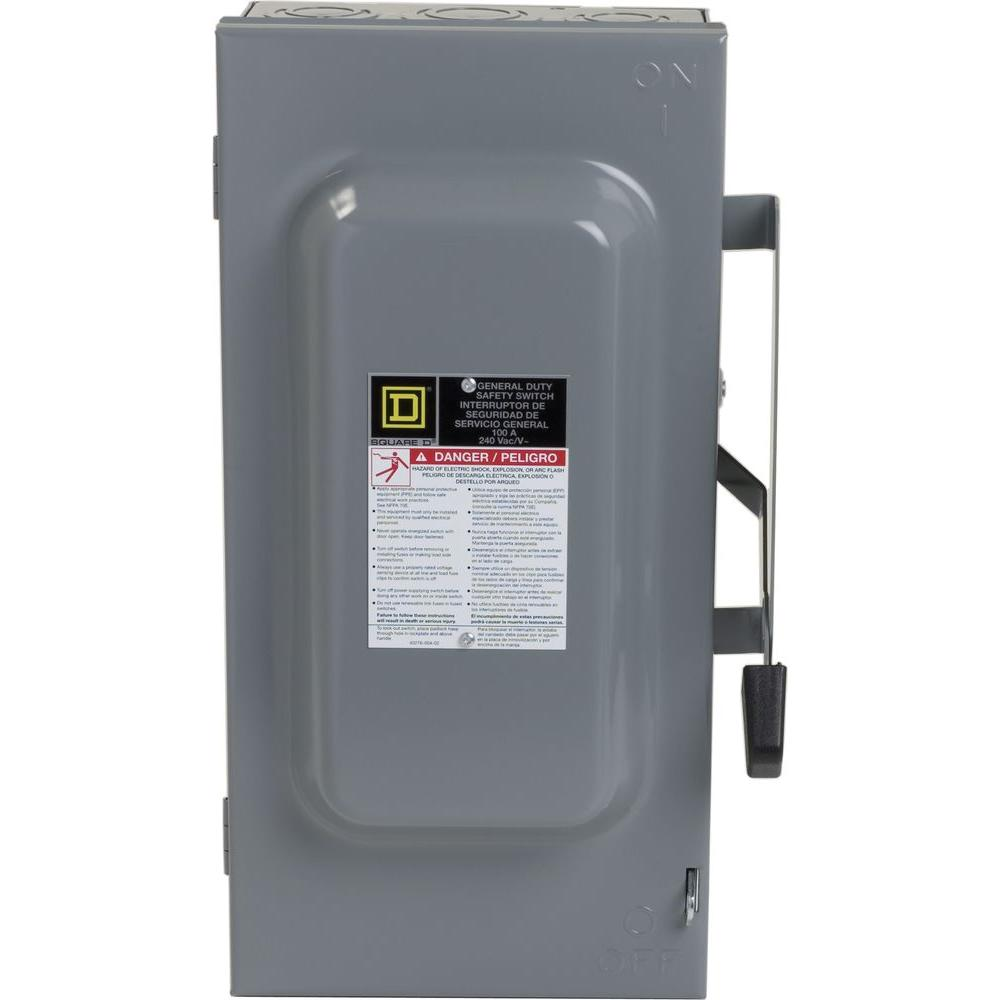 100 Amp 240-Volt 3-Pole 3-Phase Fused Indoor General Duty Safety Switch