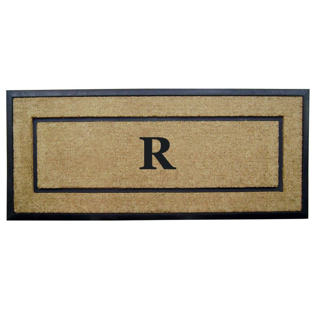 Nedia Home DirtBuster Single Picture Frame Black 24 in. x 57 in. Coir with Rubber Border Monogrammed R Door Mat