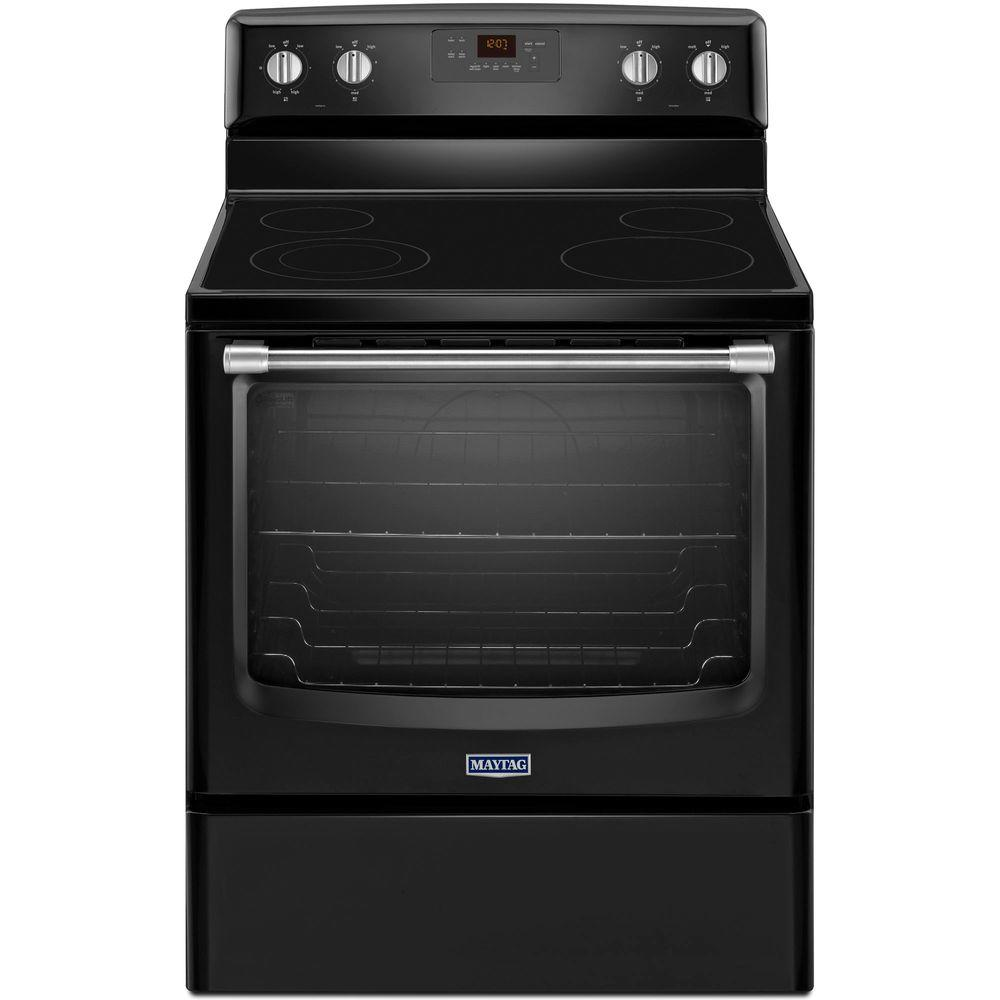 Maytag AquaLift 6.2 cu. ft. Electric Range with Self-Cleaning Oven in Black with Stainless Steel Handle