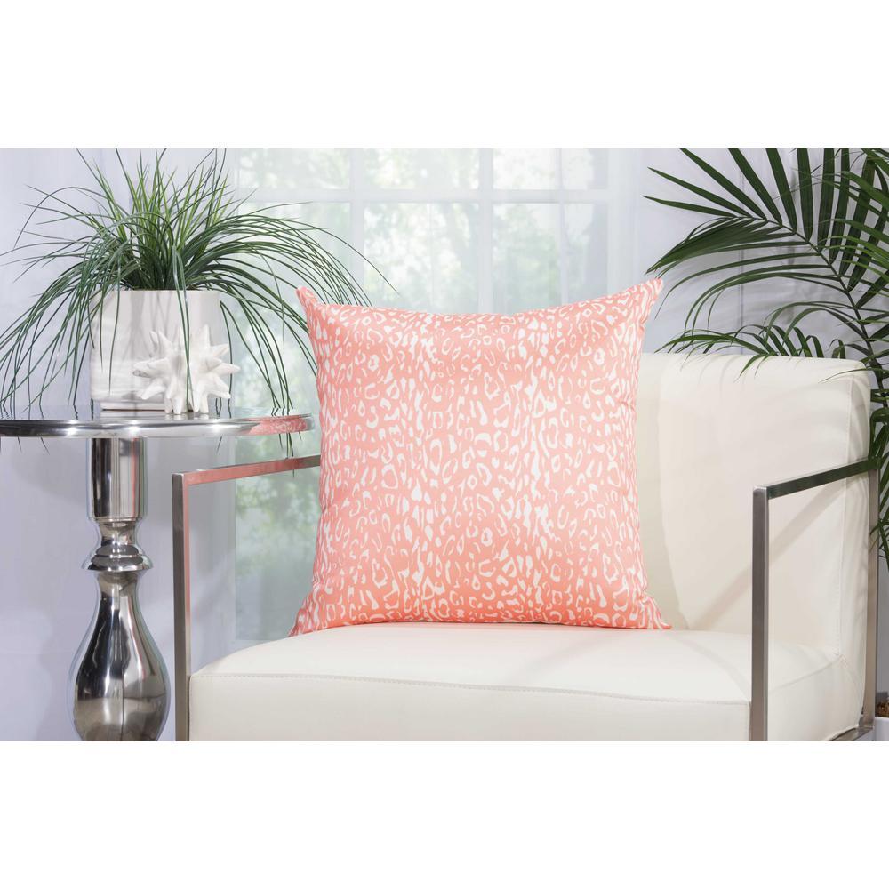 Leopard 20 in. Orange Indoor and Outdoor Pillow