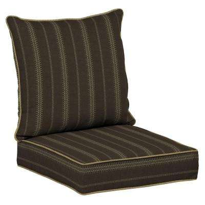 Trevor Stripe Espresso Snap Dry 2-Piece Deep Seating Outdoor Lounge Chair Cushion