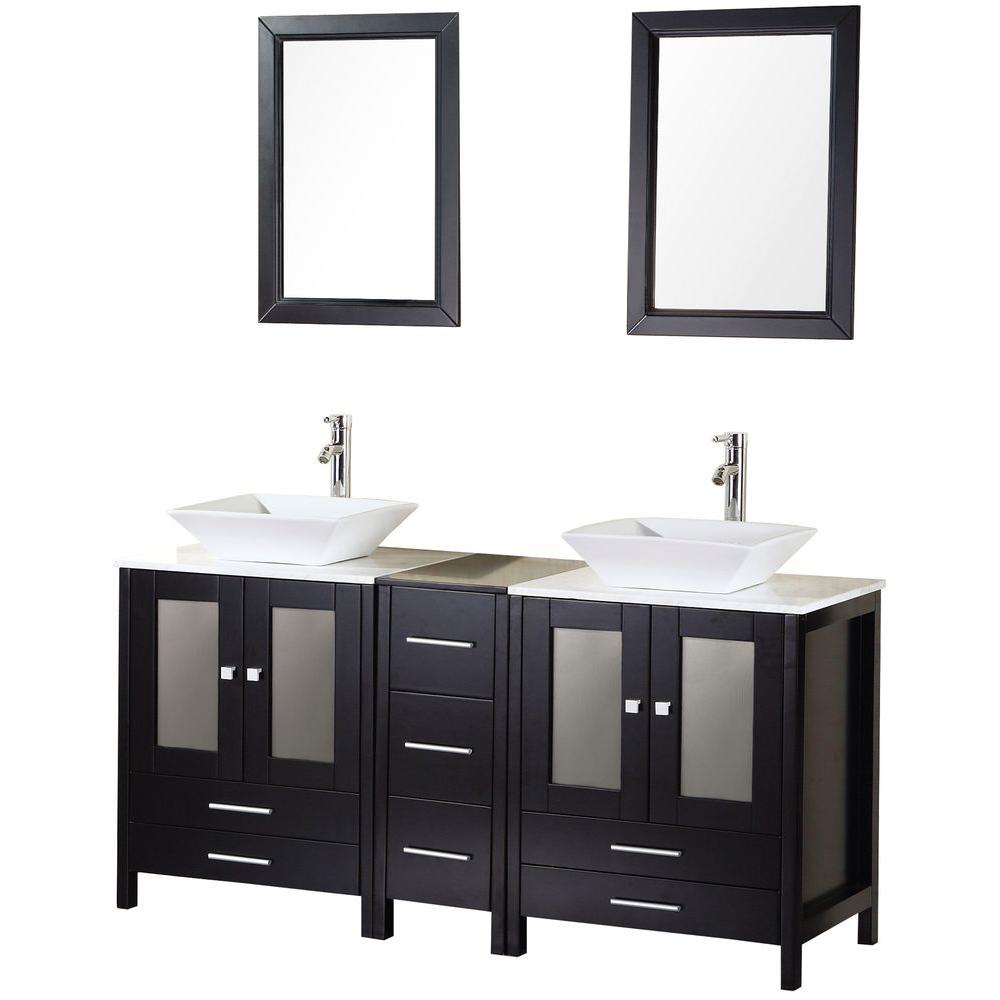 Design Element Arlington 61 in. W x 22 in. D Vanity in Espresso with Marble Vanity Top and Mirror in Carrera White