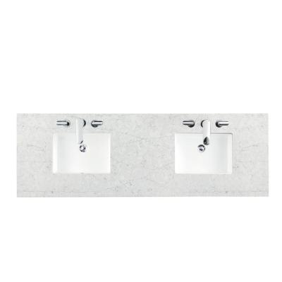 72 in. Silestone Quartz Double Basin Vanity Top in Jasmine Pearl