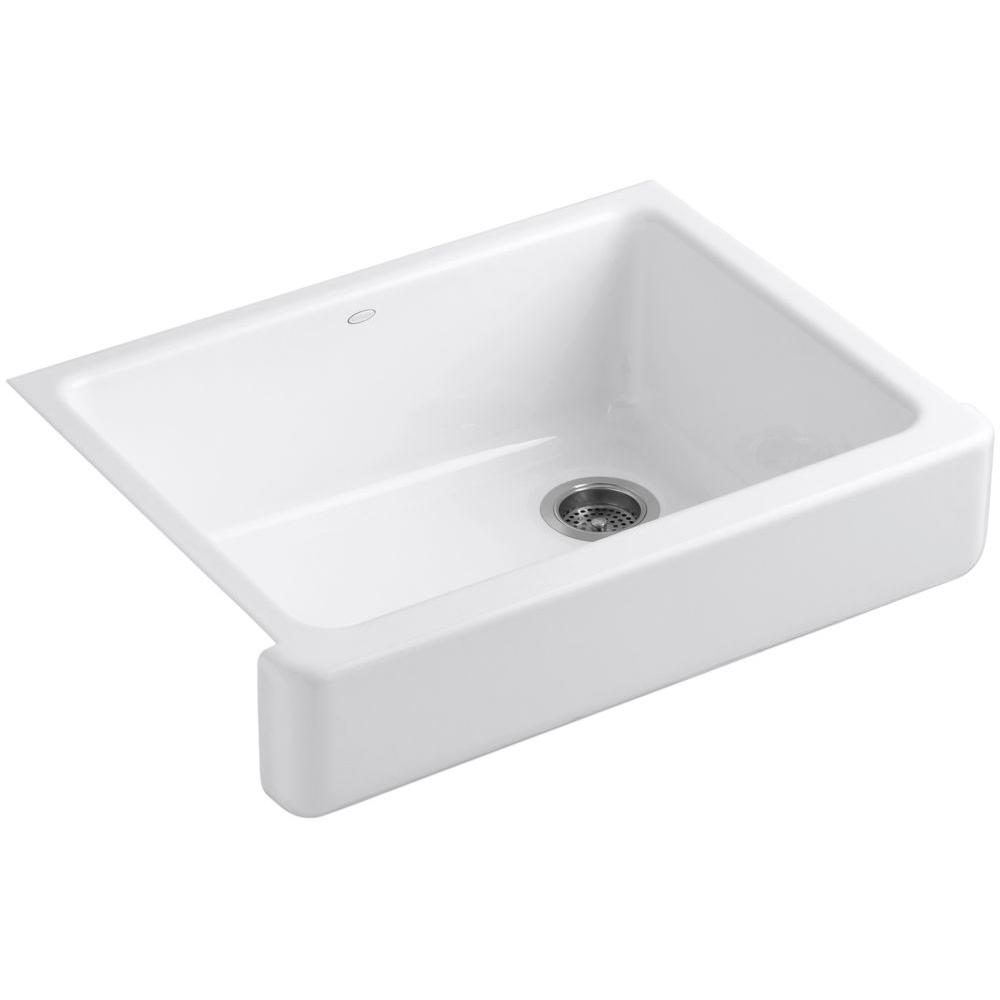 KOHLER Whitehaven Farmhouse Apron-Front Cast Iron 30 in. Single Bowl Kitchen Sink in White
